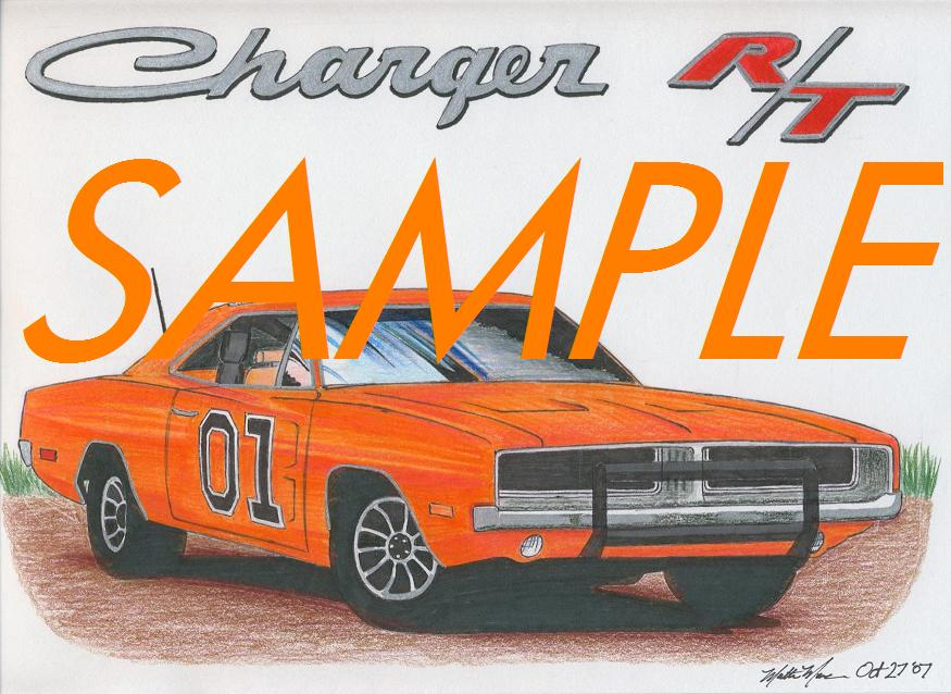 Car drawings personalized just for you!-69-dodge-charger-sample.jpg