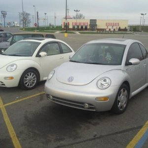Kaylee next to Cream Beetle at Walmart